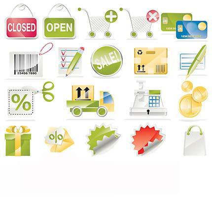 مجموعه آیکون های گرافیکی وکتور - با موضوع فروشگاه