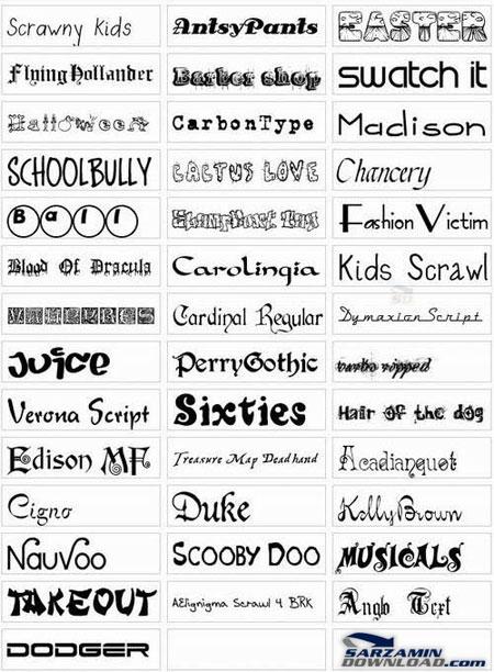 دانلود گلچین فونت های زیبای عمومی - Popular Fonts Collection - دانلود رایگان