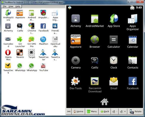 نرم افزار اجرای برنامه و بازی های اندروید در کامپیوتر - YouWave ...برخی از قابلیت های شبیه ساز اندروید YouWave for Android 2.3 :