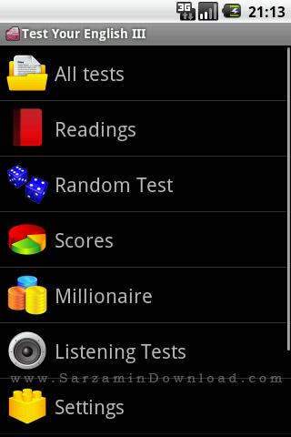 نرم افزار آزمون سطح بندی زبان انگلیسی، سطح 3 (برای اندروید) - Test Your English III. 1.1.8 Android