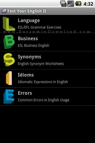 نرم افزار آزمون سطح بندی زبان انگلیسی، سطح 2 (برای اندروید) - Test Your English II. 1.2 Android