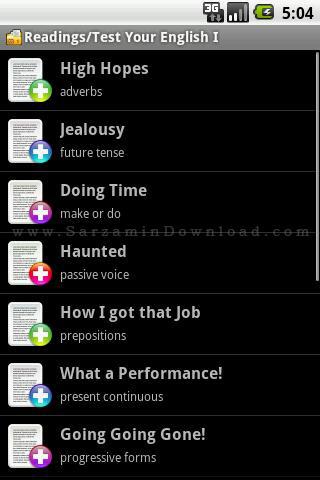 نرم افزار آزمون سطح بندی زبان انگلیسی، سطح 1 (برای اندروید) - Test Your English I. 1.1.9 Android