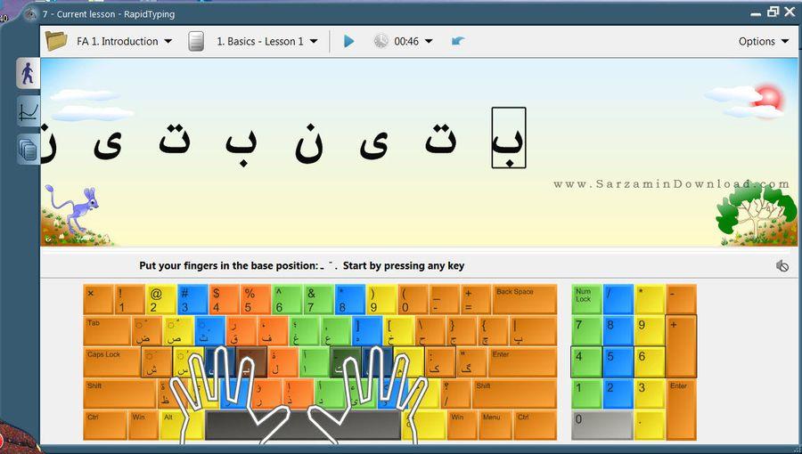 نرم افزار آموزش تایپ ده انگشتی به همراه کیبورد فارسی - RapidTyping 5