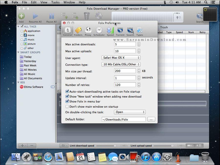 نرم افزار مدیریت دانلود حرفه ای (برای مک) - Folx 2 Mac