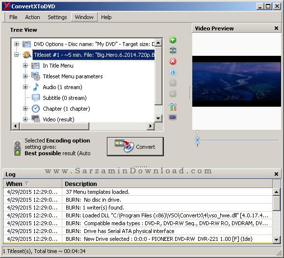 نرم افزار حرفه ای تبدیل فیلم به دی وی دی - ConvertXtoDVD 4.1