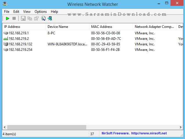 نرم افزار نظارت بر شبکه بی سیم - Wireless Network Watcher 1.81