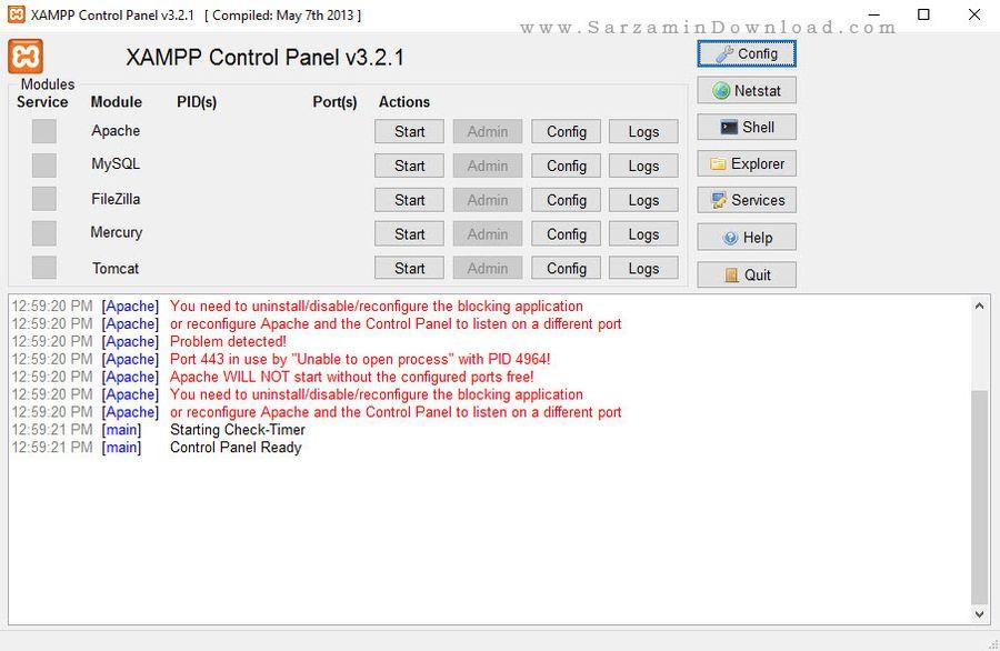 نرم افزار مجازی ساز وب سرور بر روری کامپیوتر - XAMPP 5.6.14