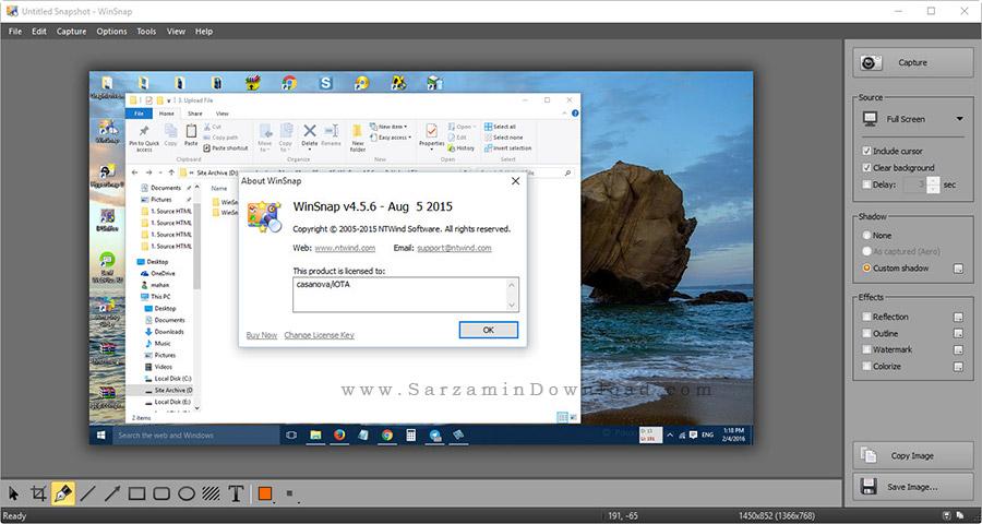 نرم افزار عکس برداری از کامپیوتر - WinSnap 4.5.6