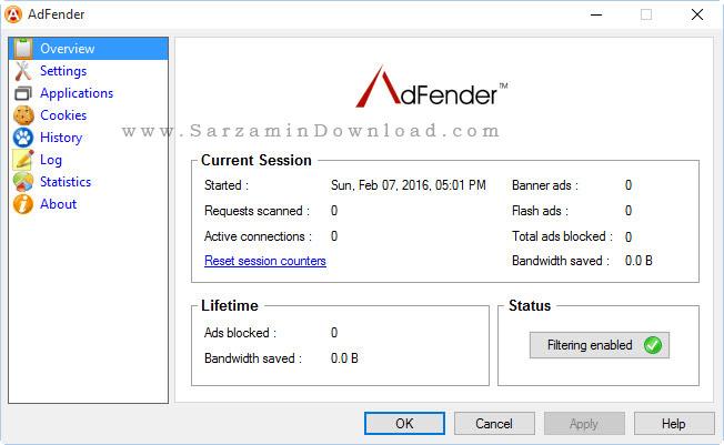 نرم افزار جلوگیری از باز شدن صفحات تبلیغاتی - AdFender 1.5