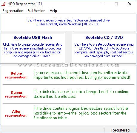 نرم افزار رفع بد سکتور هارد - HDD Regenerator 2013 v1.71