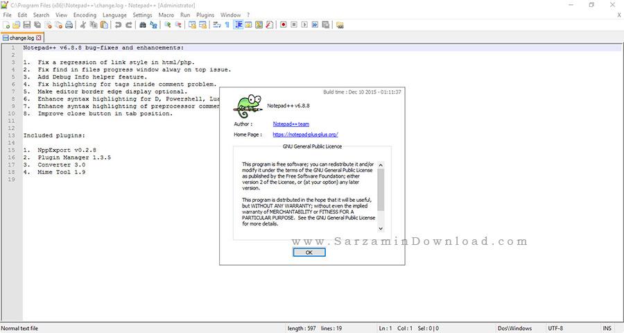 نرم افزار حرفه ای نوت پد برای برنامه نویسان - Notepad++ 6.8.8