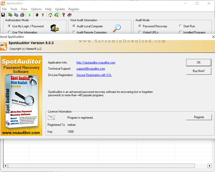 نرم افزار نمایش رمز های ذخیره شده در ویندوز - Nsasoft SpotAuditor 5
