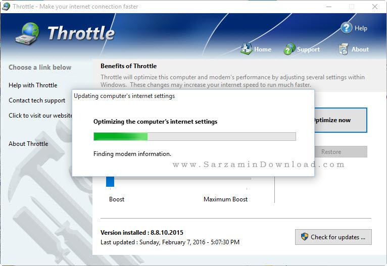 نرم افزار بهینه سازی و جلوگیری از قطع شدن اینترنت - PGWARE Throttle 8.8.10