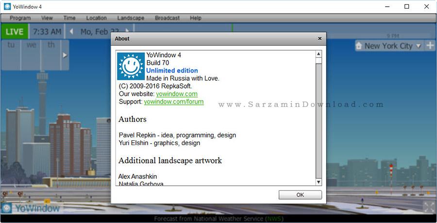 نرم افزار نمایش وضعیت آب و هوا برای ویندوز - YoWindow Unlimited Edition 4 Build70