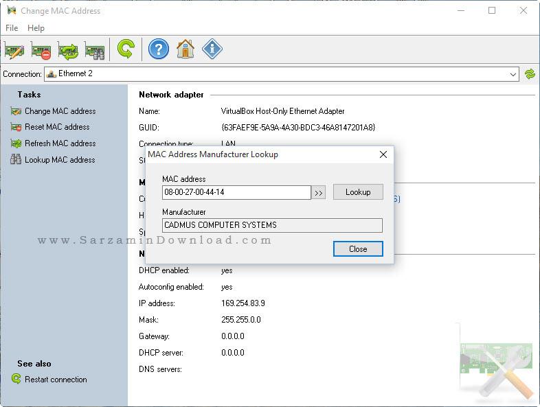 نرم افزار تغییر مک آدرس - Change MAC Address 2.6