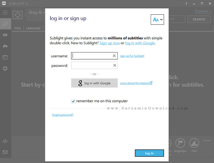 نرم افزار جستجوی زیرنویس - Sublight 5.1.1