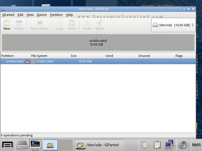 نرم افزار پارتیشن بندی و مدیریت دیسک سخت، به صورت CD بوتیبل - Parted Magic 2016.03.02