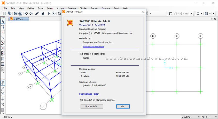 نرم افزار آنالیز و طراحی سازه (سپ 2000) - CSI SAP2000 Ultimate 18