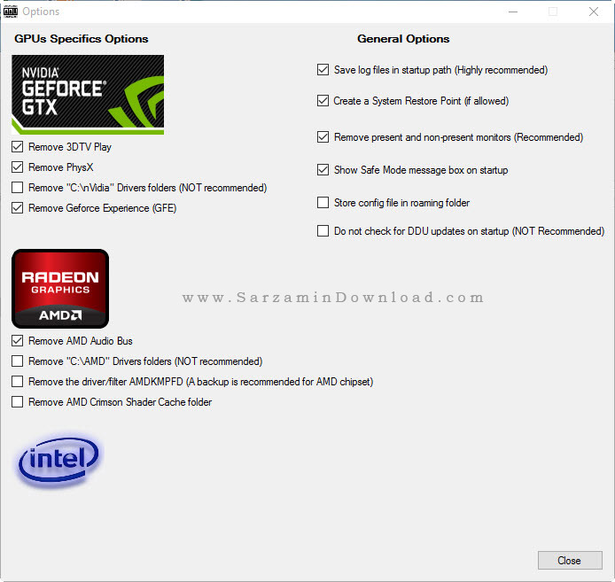 نرم افزار حذف درایور کارت گرافیک - Display Driver Uninstaller 15.7.5