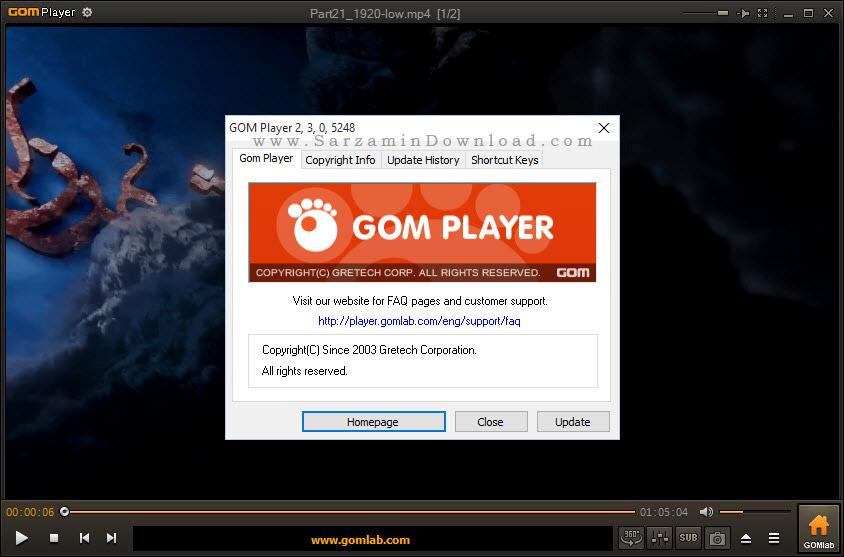 نرم افزار پخش فایل های صوتی و تصویری - GOM Media Player 2.3