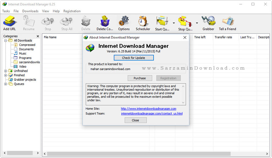نرم افزار مدیریت دانلود - Internet Download Manager 6.25 Build 14