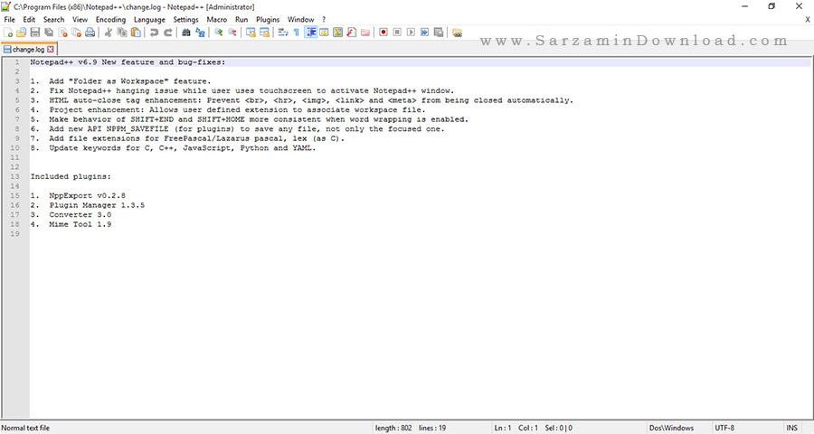 نرم افزار حرفه ای نوت پد برای برنامه نویسان - Notepad++ 6.9