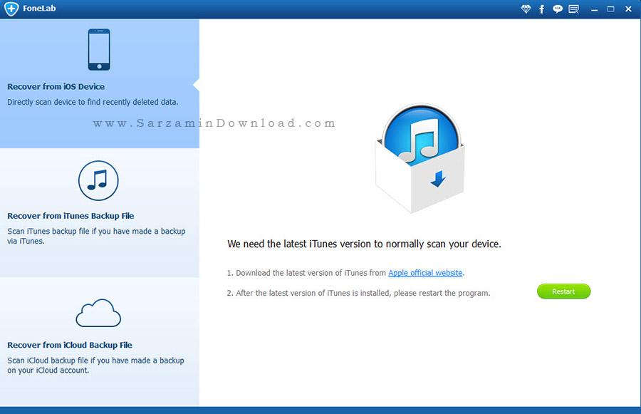 نرم افزار بازیابی اطلاعات آیفون - Aiseesoft FoneLab 8.3.8