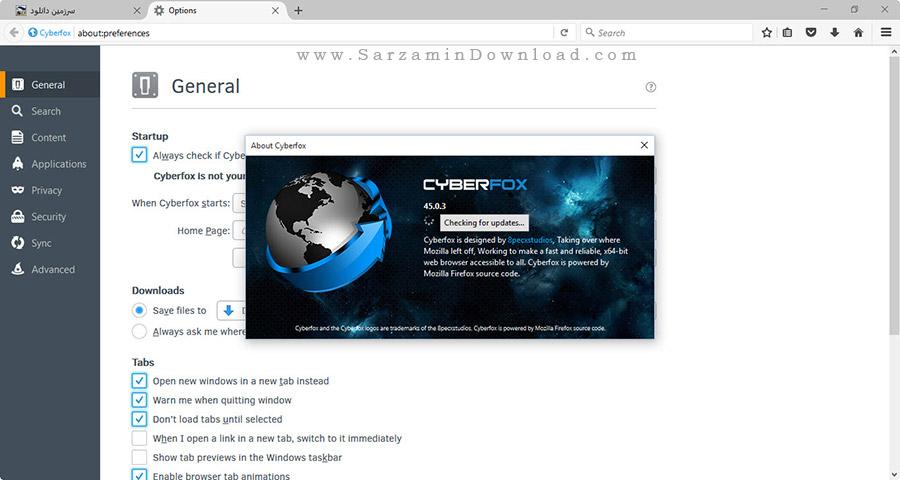 نرم افزار مرورگر حرفه ای سایبر فاکس - Cyberfox 45.0.3