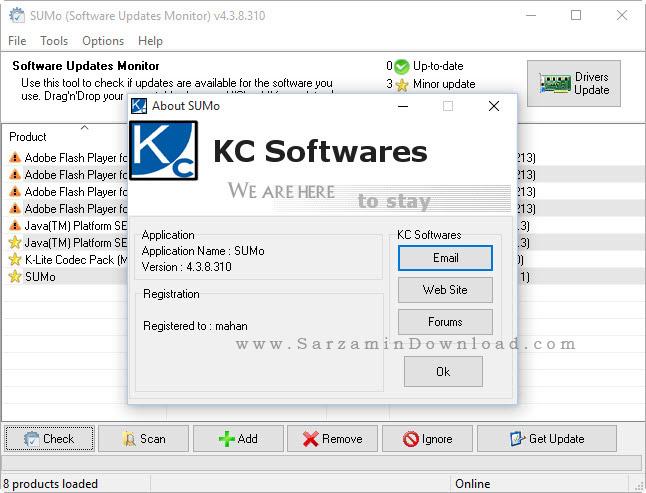 نرم افزار آپدیت نرم افزار های سیستم - SUMo Pro 4.3.8