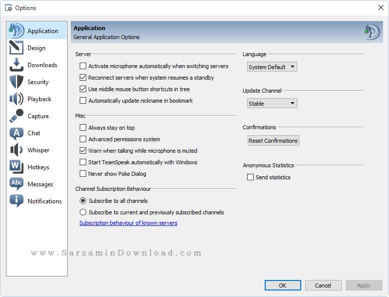 نرم افزار ارتباط گروهی در اینترنت (تیم اسپیک) - TeamSpeak Client 3.0.19