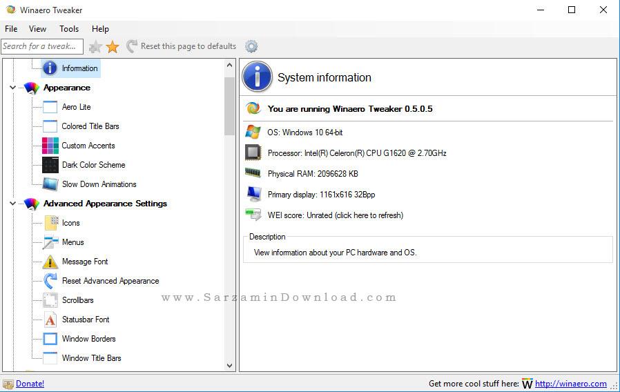نرم افزار شخصی سازی و اعمال تغییرات دلخواه در ویندوز - Winaero Tweaker 0.5.0.5