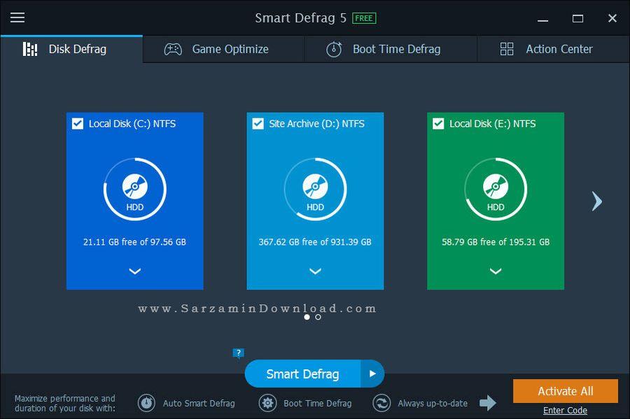 نرم افزار رایگان یکپارچه سازی هارد - IObit Smart Defrag Pro 5.0.2