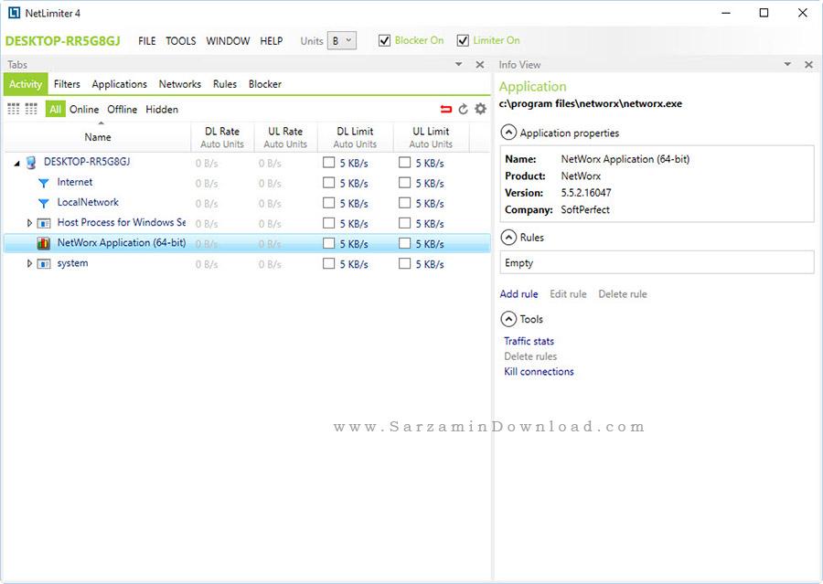 نرم افزار مدیریت و کنترل شبکه - NetLimiter Enterprise 4.0.19