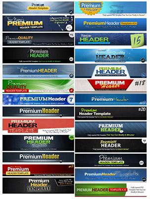 دانلود مجموعه طرح های لایه باز هدر سایت Premium Photoshop PSD Headers