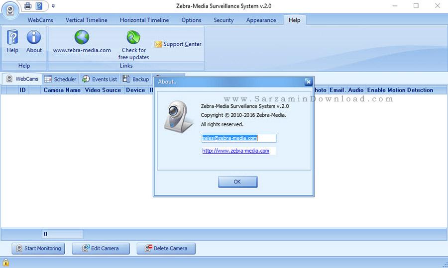 نرم افزار نظارت بر دوبین های مدار بسته - Zebra-Media Surveillance System 2.0