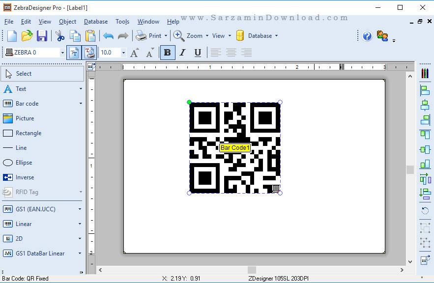 نرم افزار ایجاد و چاپ بارکد - ZebraDesigner Pro 2.5.0.9