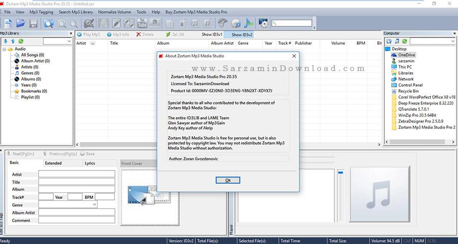 نرم افزار مدیریت حرفه ای فایل های صوتی - Zortam Mp3 Media Studio Pro 20.35