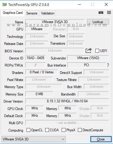 نرم افزار نمایش مشخصات کارت گرافیک - GPU-Z 0.8.8