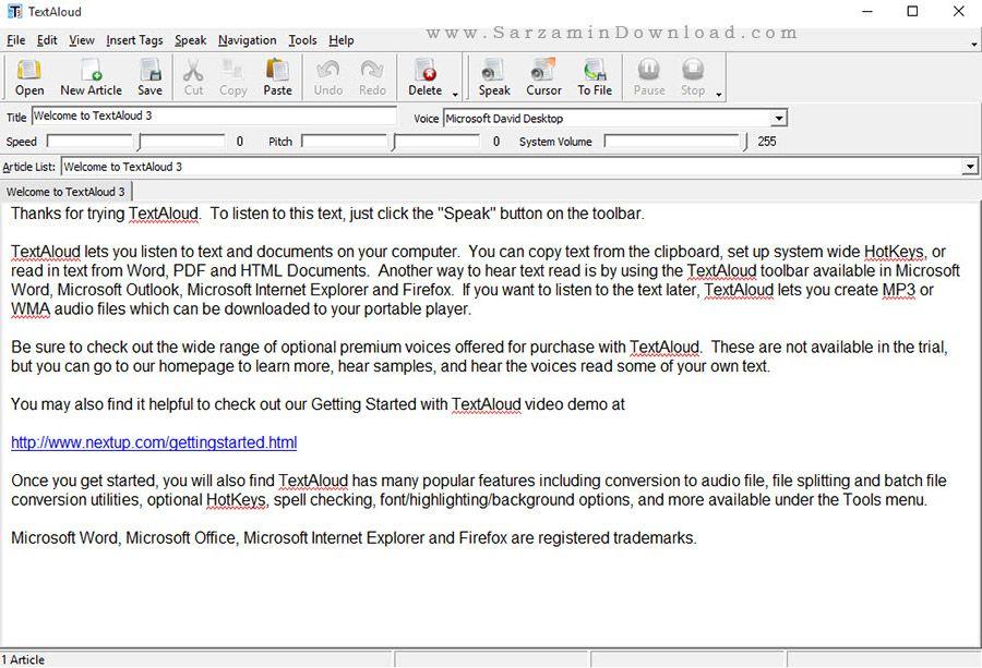 نرم افزار سخنگو برای کامپیوتر - TextAloud 3.0.94