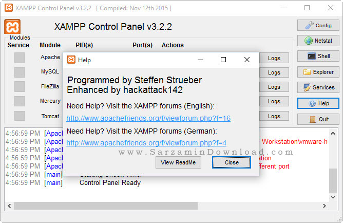 نرم افزار مجازی ساز وب سرور بر روری کامپیوتر - XAMPP 5.6.21