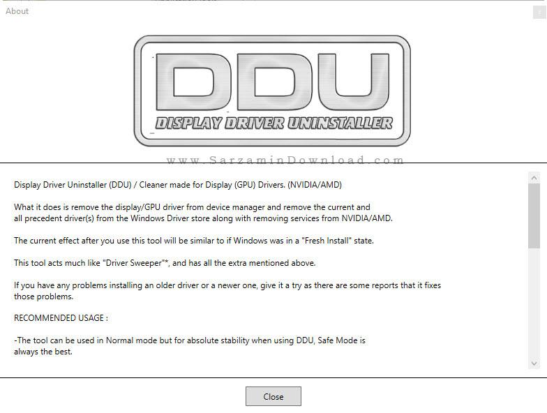 نرم افزار حذف درایور کارت گرافیک - Display Driver Uninstaller 16