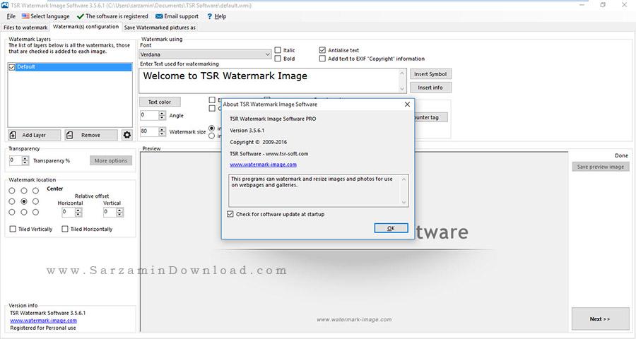 نرم افزار قرار دادن کپی رایت (واترمارک) بر روی عکس - TSR Watermark Image Pro 3.5.6.1