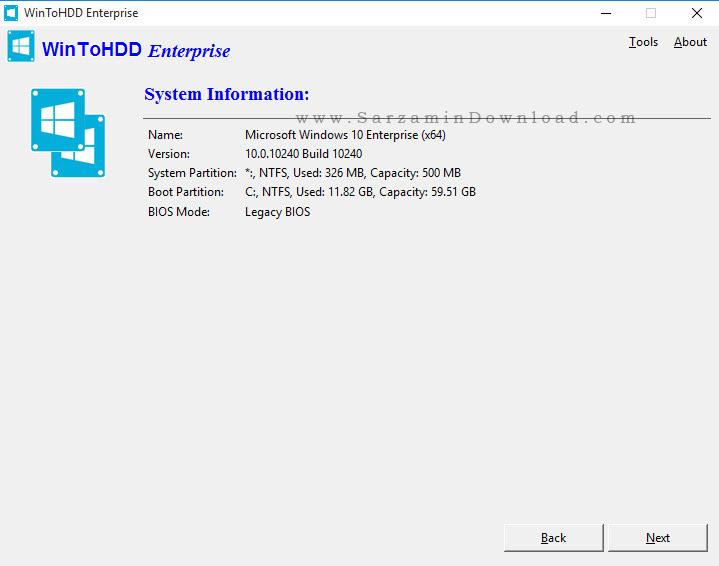 نرم افزار نصب ویندوز بدون نیاز به دیسک یا یو اس بی - WinToHDD Enterprise 2.0