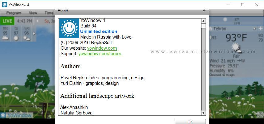 نرم افزار نمایش وضعیت آب و هوا برای ویندوز - YoWindow Unlimited Edition 4 Build84