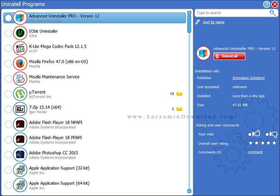 نرم افزار پاکسازی برنامه های نصب شده - Advanced Uninstaller PRO 12