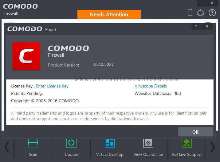 نرم افزار فایروال رایگان کومودو - Comodo Firewall 8.2