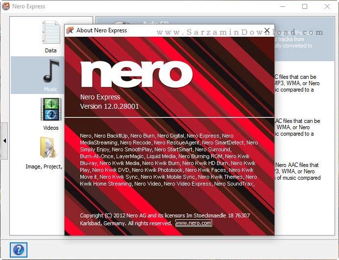 نرم افزار کم حجم شده نرو برای رایت - Nero Micro 12