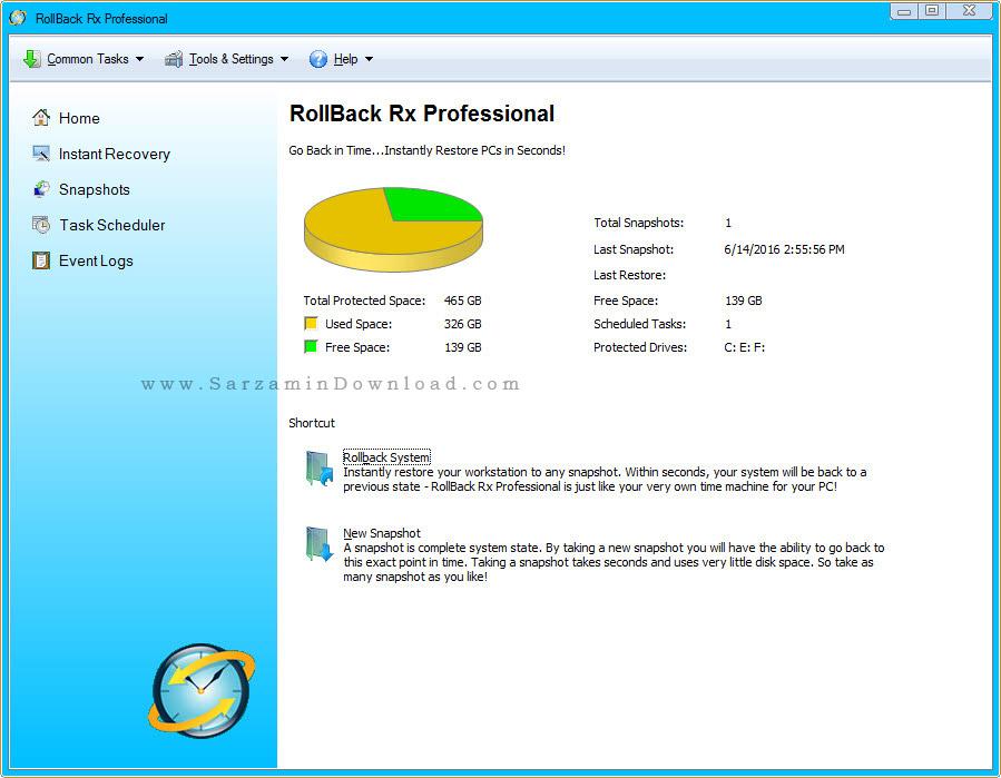 نرم افزار ریکاوری و بازگردانی برای ویندوز - RollBack Rx Pro 10.4