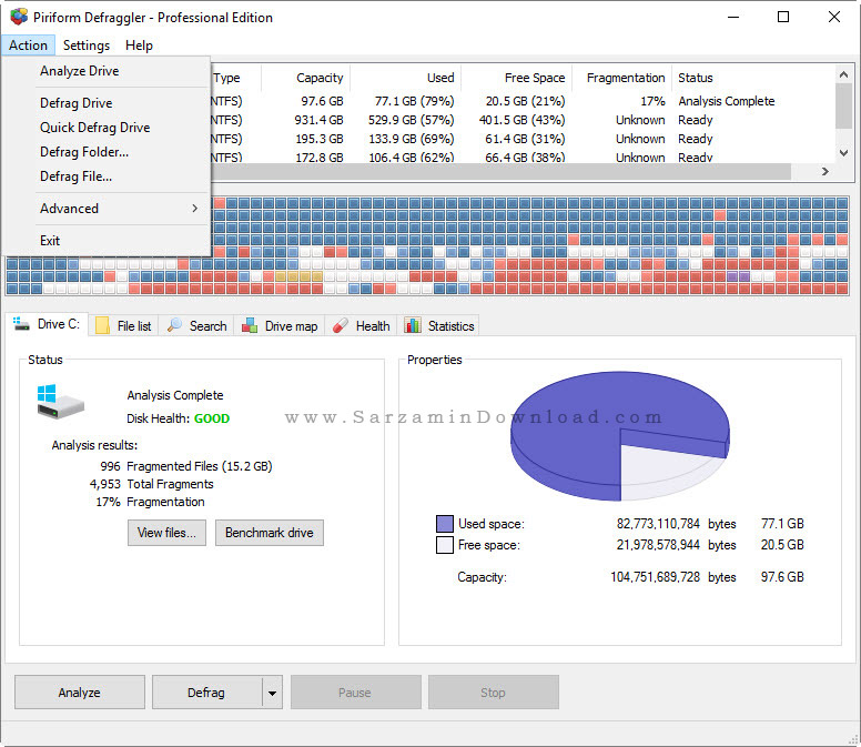 نرم افزار یکپارچه سازی هارد - Defraggler Pro 2.21