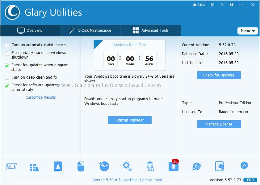 نرم افزار تمیز کننده و بهینه ساز ویندوز - Glary Utilities PRO 5.52